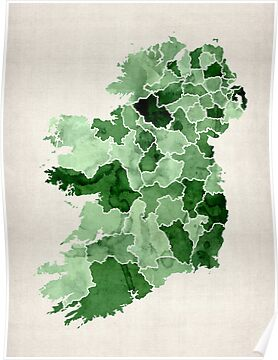 Ireland Watercolour Map by ArtPrints