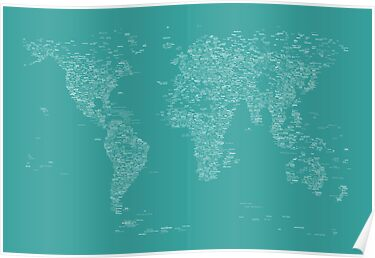 World Map of Cities by ArtPrints
