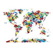 World Map Paint Drops Photographic Print