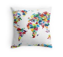World Map Paint Drops Throw Pillow