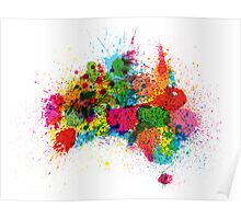 Australia Paint Splashes Map Poster