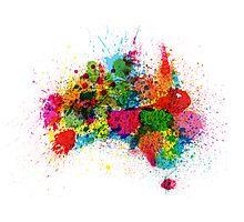Australia Paint Splashes Map Photographic Print