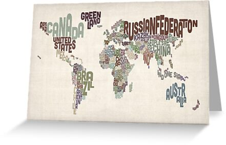 Text Map of the World by ArtPrints