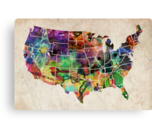 USA Watercolor Map Canvas Print