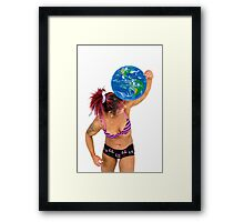 Female Atlas holds the world on her shoulder  Framed Print