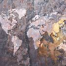 World Map on Stone Background by ArtPrints