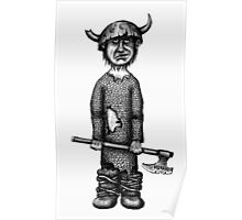 Funny viking black and white pen ink drawing Poster