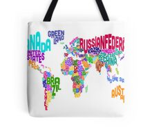 Typographic Text Map of the World Tote Bag