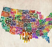 United States Text Map by Michael Tompsett