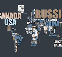 World Map in Words by ArtPrints