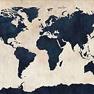World Map Distressed Navy by ArtPrints