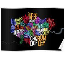 London UK Text Map Poster