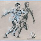 Sergio Aguero - sketch drawing by Paulette Farrell