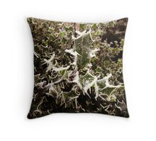 Frosty Holly Throw Pillow