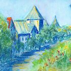 Solvang Skyline (pastel) by Niki Hilsabeck