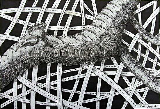 240 - TREE ABSTRACT - DAVE EDWARDS - INK - 2012 by BLYTHART
