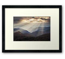 Crepuscular Light Rays on Blue Ridge Parkway - Rays and Ridges Framed Print
