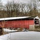 Winter at Mercer's Ford Covered Bridge by Monte Morton