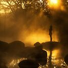 Sillhouette Girl at hotspring by arthit somsakul