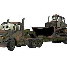 Military Semi Bulldozer Heavy Hauler Cartoon by Graphxpro