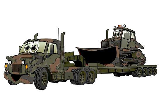 Military Semi Bulldozer Heavy Hauler Cartoon by Graphxpro