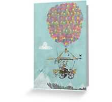 Riding A Bicycle Through The Mountains Greeting Card