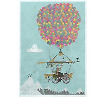 Riding A Bicycle Through The Mountains Photographic Print