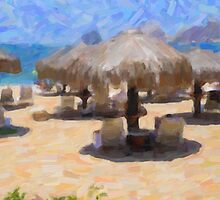 Palapas On The Beach by Tom  Reynen