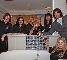 Laurence Llewelyn Bowen in a Dolphin Bathrooms store by Keith Larby