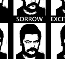 Ron Swanson is a man of many faces Sticker