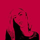 Portrait of a woman on red - drawing by CatchyLittleArt