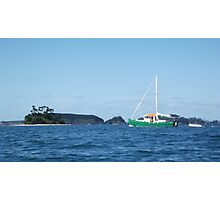 Green barge sailing by Beehive Island Photographic Print