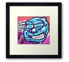 Blue Face Man - Graffiti - Street Art Framed Print