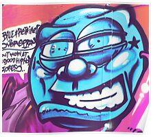 Blue Face Man - Graffiti - Street Art Poster