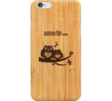 Bamboo Look Engraved Cute Love Owls Couple Valentine's Day iPhone Case/Skin