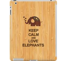 Bamboo Look & Engraved Keep Calm and Love Elephants iPad Case/Skin
