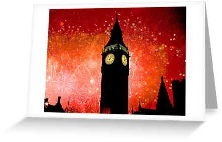 Big Ben - New Years Eve Fireworks 2010 -  2011 - HDR by Colin J Williams Photography