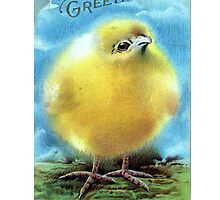 Easter Greeting Chick Blank Greeting Card by Oldetimemercan