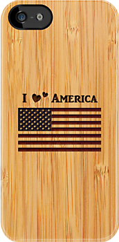 Bamboo Look & Engraved I Love America Flag by scottorz