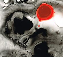 Clarity - Black And White Art Red Painting by Sharon Cummings