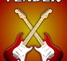 Fender Stratocaster american standart red  Greeting Cards & Postcards by goodmusic