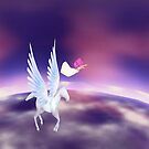 Sailor Moon Rini and Pegasus in flight by LokiLaufeysen