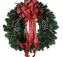 Christmas Wreath Poster Print And Card by Oldetimemercan