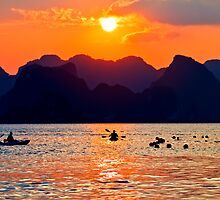 Halong Bay kayaks and sunset by kmatm