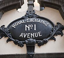 Royal Exchange NO 1 Avenue sign by Keith Larby