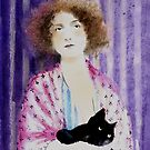 Black cat, pink gown by lillo