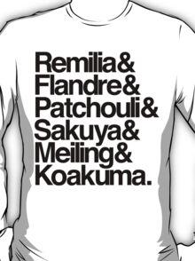 Scarlet Devil Mansion Helvetica List [Black Text] T-Shirt
