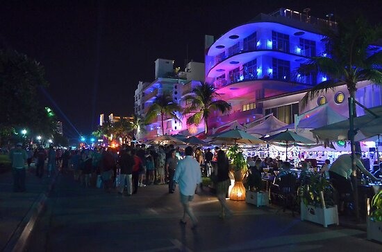 Street Night Life on Ocean Drive - Miami Beach, South Florida by 242Digital