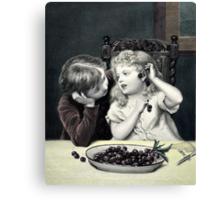 "Vintage Victorian Print ""Cherry Earrings"" Canvas Print"
