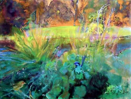 Fairy Wrens along the River by Susan  Wellington